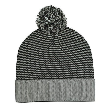 Knit Pom Striped Beanie With Cuff
