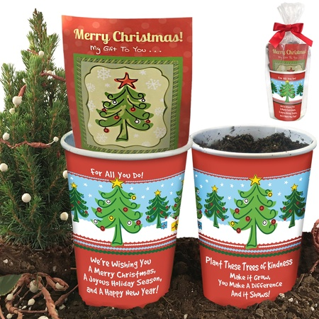 Merry Christmas Tree Planter Employee Gift Set