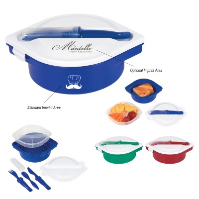 Multi Compartment Logo Meal Container with Utensils