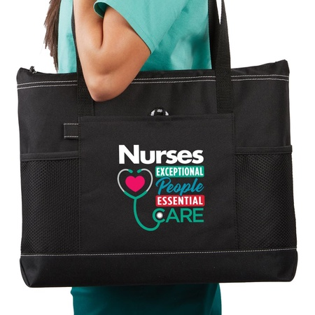 Nurses: Exceptional People, Essential Care Multi-Pocket Tote Bag