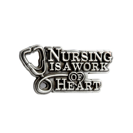 Nursing Is A Work Of Heart Pewter Lapel Pin