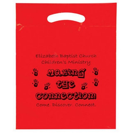 "Custom Printed Plastic Die Cut Bag - 15"" x 19"" x 3"""