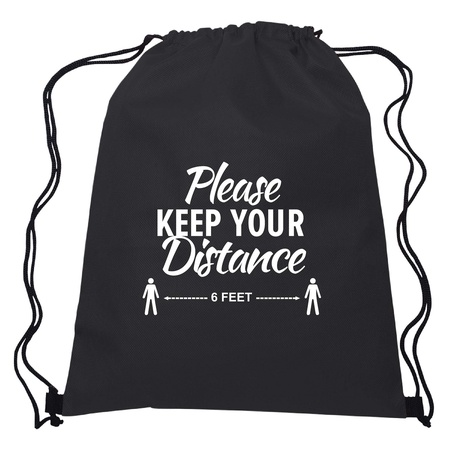 Please Keep Your Distance Non-Woven Drawstring Backpack
