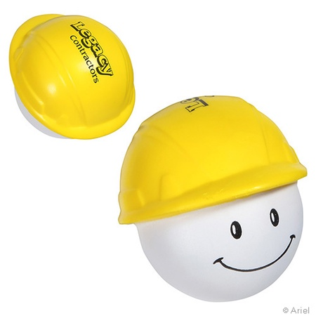 Printed Happy Face Hard Hat Stress Balls