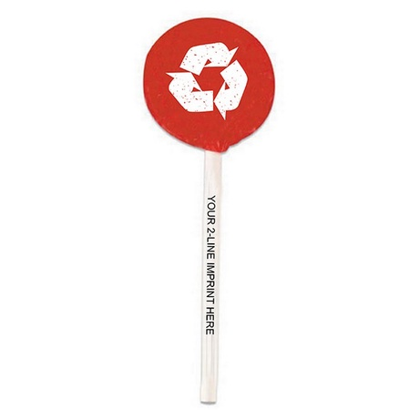 Recycled Logo Lollipops with Imprinted Sticks