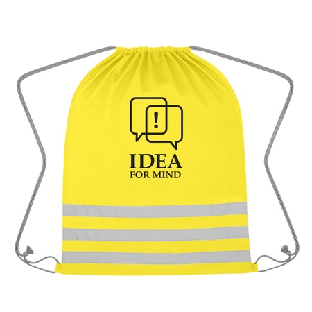 Reflective Safety Drawstring Bag with Custom Imprint