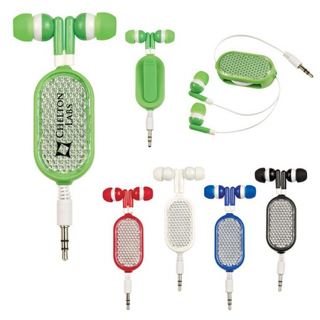 Retractable Reflective Promotional Ear Buds