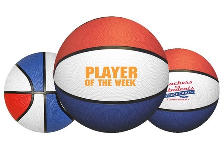 Rubber Red, White & Blue Basketball