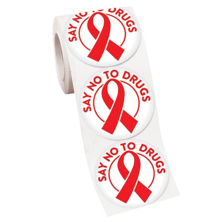 Say No To Drugs Red Ribbon Stickers