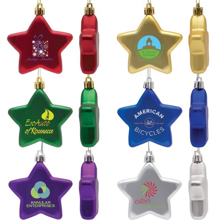 Shatter Resistant Star Ornament with Logo Imprint