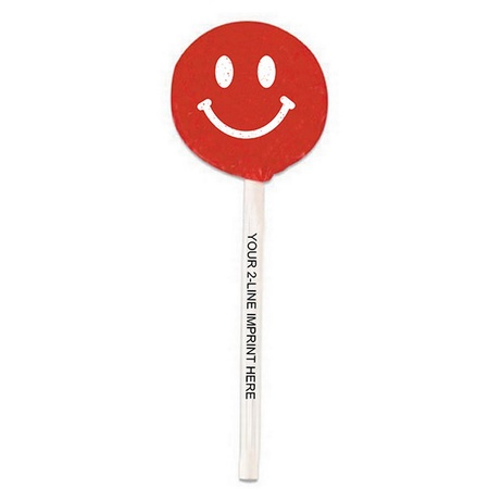 Smiley Face Lollipop with Imprinted Stick