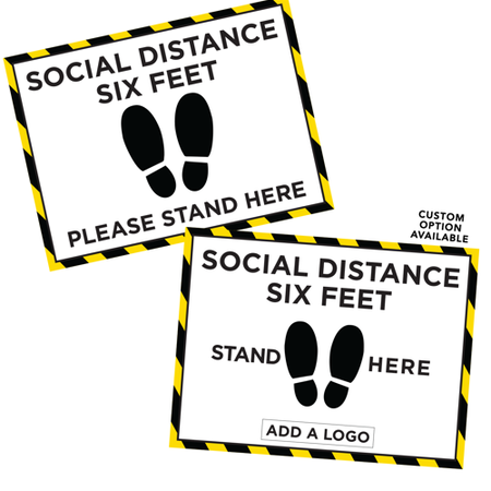 Social Distancing Rectangle Floor Decal - 9 x 12