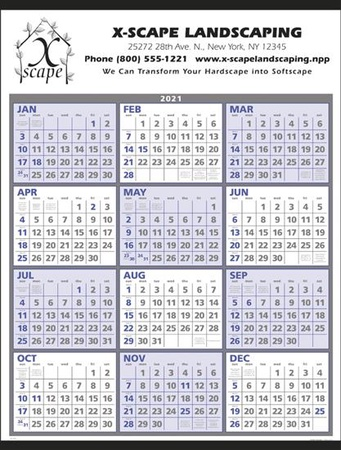 Custom 2021 Commercial Span-A-Year Calendars