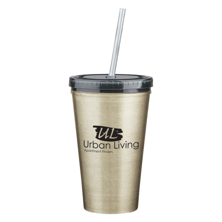 Stainless Steel Custom 16 oz. Double Wall Tumbler & Straw