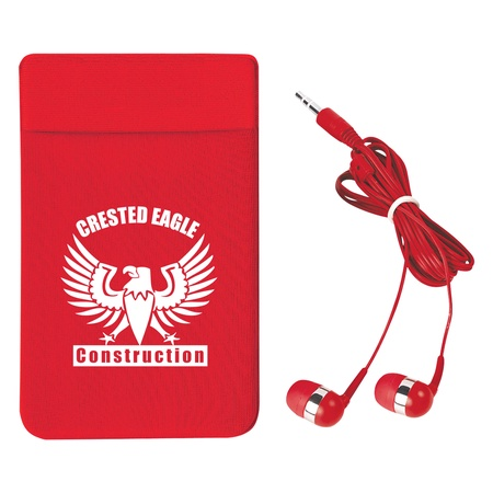 Stretch Phone Card Sleeve with Ear Buds