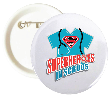 "Superheroes In Scrubs 2-1/4"" Buttons"