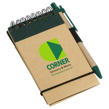 Think Green Recycled Promotional Notebook & Pen