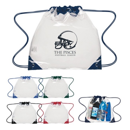 Touchdown Clear Drawstring Backpack with Imprint