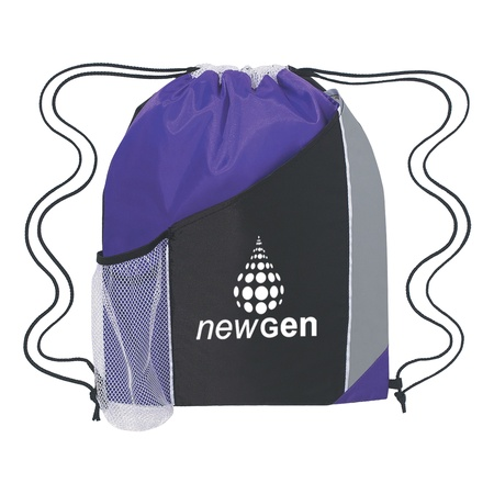 Personalized Tri-Color Drawstring Sports Backpacks