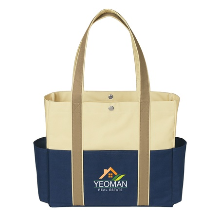 Tri-Color Pockets Promotional Tote Bags
