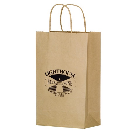 "Twisted Handle Custom 10"" x 5"" x 13"" Shopping Bags"