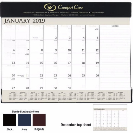Vinyl Desk Calendar Pad - 2020