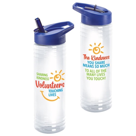 Volunteers 'Sharing Kindness, Touching Lives' Water Bottles