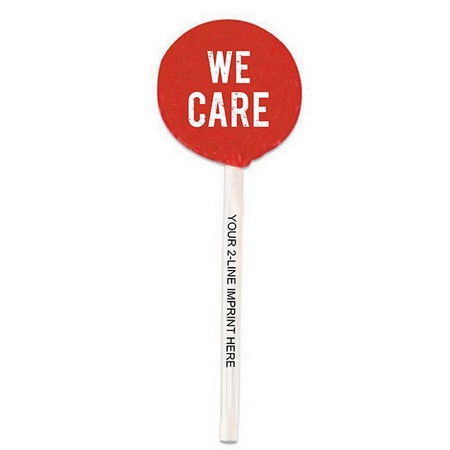 We Care Lollipop with Imprinted Stick