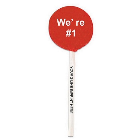 We're #1 Lollipops with Imprinted Sticks