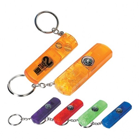 Whistle, Light & Compass Key Chain