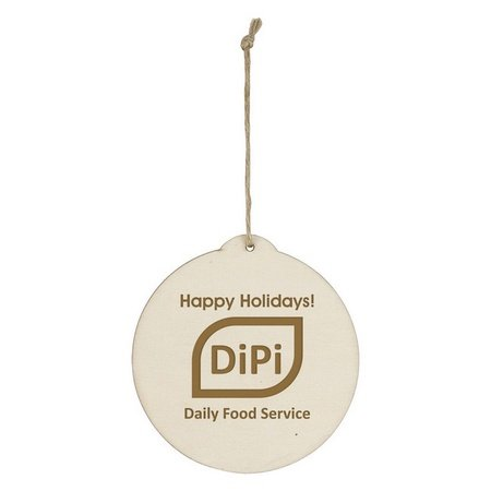 Wood Holiday Round Ornament