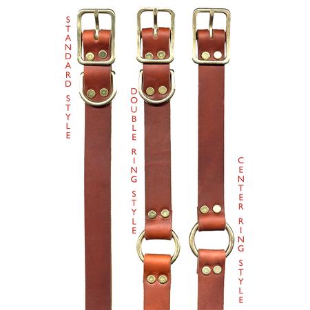 """FieldKing, BTL Bridle Leather Dog Collar, Center Ring, 1"""" W"""