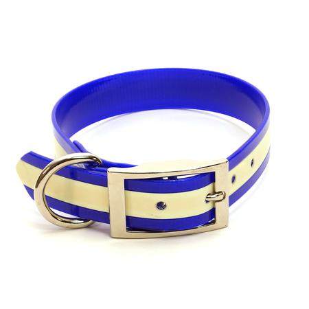 "Dura-Lon Glow Dog Collar, Standard, Blue, 1"" Wide"