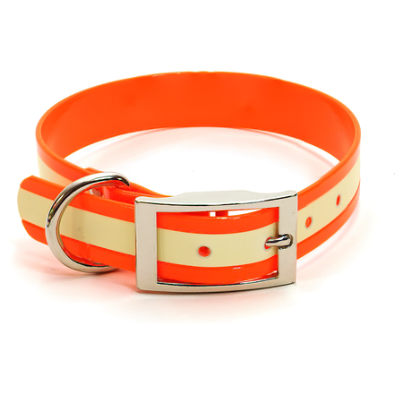 "Dura-Lon Glow Dog Collar, Standard, Orange, 1"" Wide"