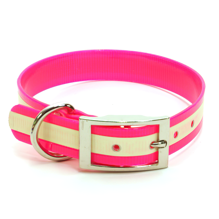 "Dura-Lon Glow Dog Collar, Standard, Hot Pink, 1"" Wide"