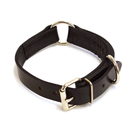 "FieldKing Belgian Bridle Leather Dog Collar, Black, Double Ring, 1 1/4"" Wide"
