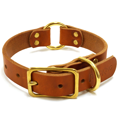 "FieldKing, BTL Bridle Leather Dog Collar, Double Ring, 1"" W"