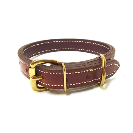 """FieldKing, Doubled & Stitched Bridle Leather Dog Collar, Standard, 1"""" Wide"""