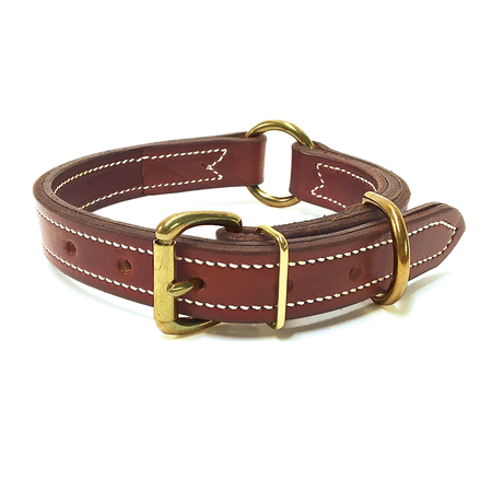 "FieldKing, Doubled & Stitched Bridle Leather Dog Collar, Double Ring, 1"" Wide"