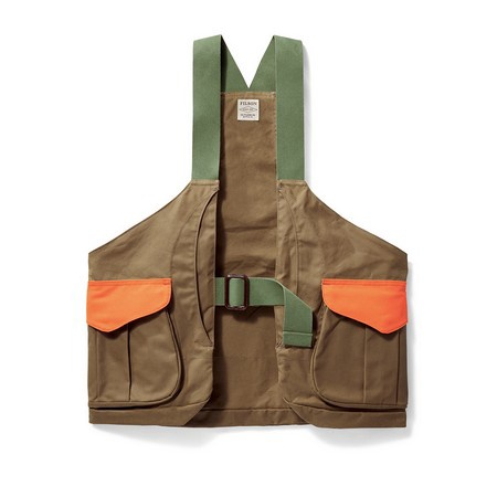 Filson, Shelter Cloth Strap Vest with Blaze Orange