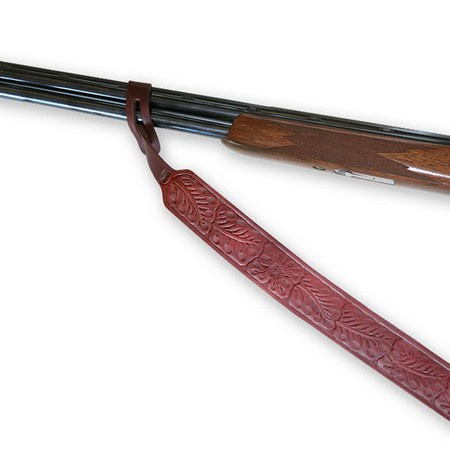 Shotgun Sling, Flower Tooled, Leather