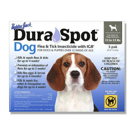 Happy Jack, DuraSpot Dog Flea & Tick Insecticide with IGR, 1.5 mL, 3 Pack (3 Month Supply)