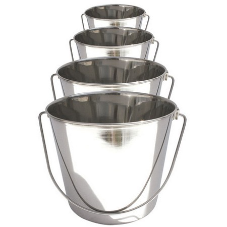 Heavy Duty Round Pail, Stainless Steel