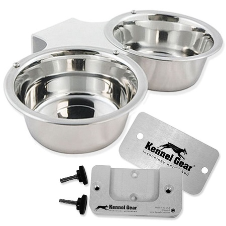 Kennel Gear, Bowl System, Stainless Steel Yoke, 2 Quart Double