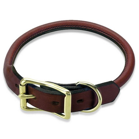 Mendota, Rolled Standard Dog Collar, Chestnut