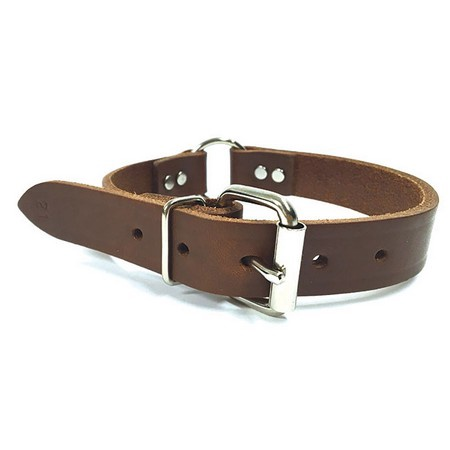 """NBS Leather Dog Collar, Center Ring, 1"""" Wide"""