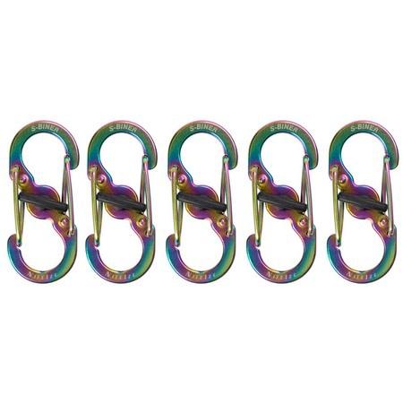 Nite Ize, S-Biner MicroLock Stainless Steel, 5 Pack, Spectrum