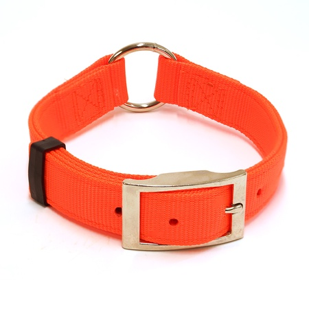 "Nylon Dog Collar, Center Ring, 1"" Wide, Orange"