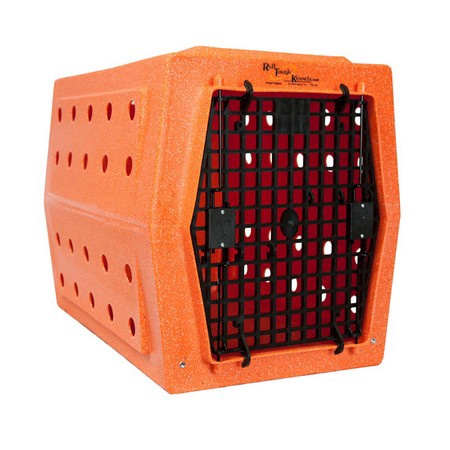 Ruff Land, Intermediate Kennel, Single Door, Orange Speckled