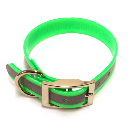 "SunGlo Standard Dog Collar, Reflective, Green, 1"" Wide"